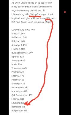 Ab üyesi ülkeler asgari ücret ve Türkiye